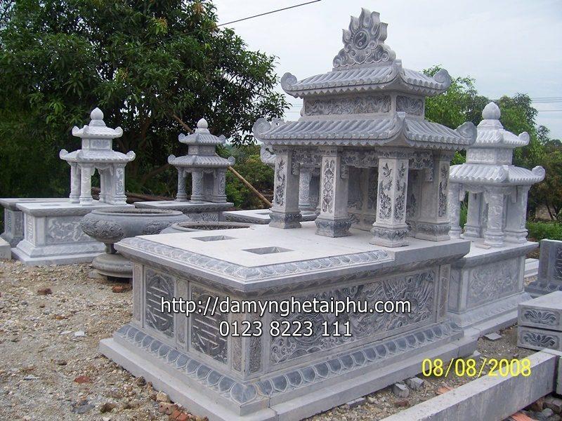 Mộ đá đẹp Tài Phú - Mẫu mộ đá đôi hai đao mây, mo da doi, mộ đôi hai đao mây