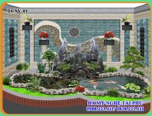 Thiết kế Tiểu cảnh sân vườn – Làm hồ cá koi có non bộ đá đẹp