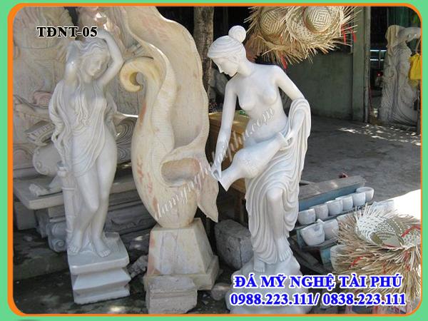 Tượng cảnh đá 05, tượng cô gái cầm bình, Tượng đá nghệ thuật, tượng đá cô gái
