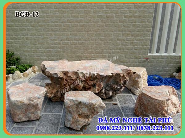 Bàn ghế đá làm bằng đá tự nhiên 12