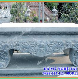 Mẫu Bàn lễ đá chân quỳ chạm hổ phù