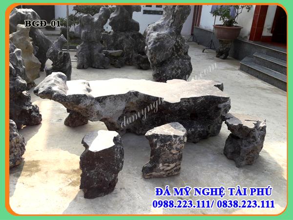 Bàn ghế đá làm bằng đá tự nhiên 01
