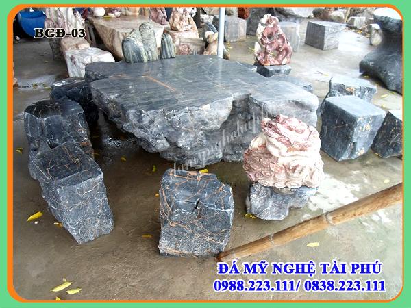 Bàn ghế đá làm bằng đá tự nhiên 03