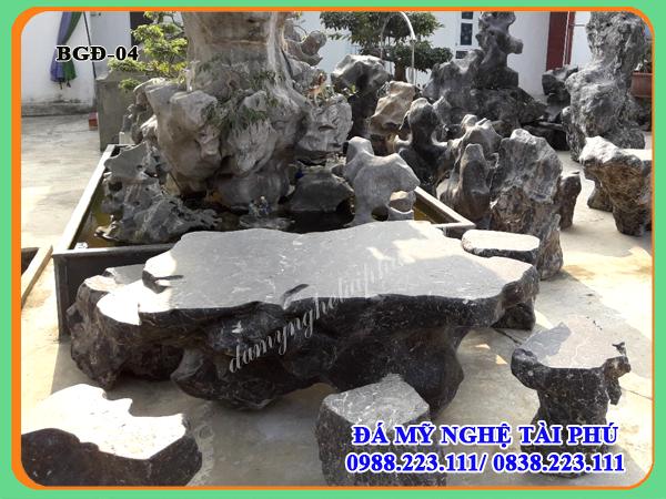 Bàn ghế đá làm bằng đá tự nhiên 04