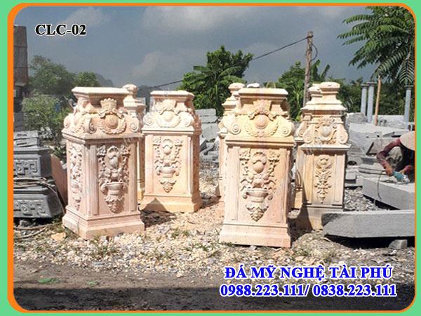 Cột đá cầu thang cho Biệt thự làm bằng đá vàng tự nhiên