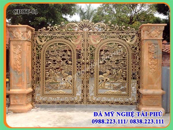 cổng đá đẹp cho biệt thự, cổng đá, cổng nhà ở cao cấp, cột trụ đá