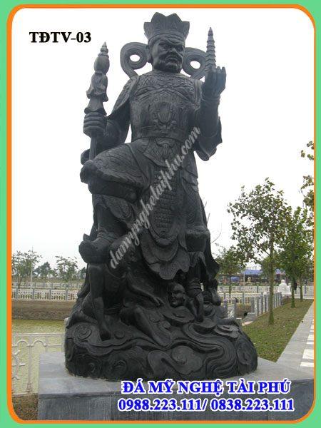 Tượng Tứ đại thiên vương đá xanh đen