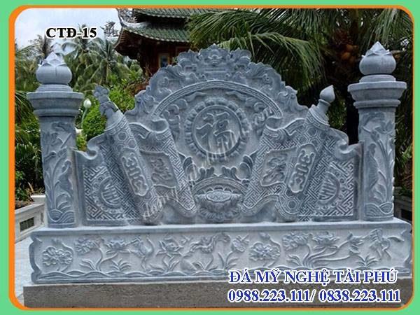 Bình phong đá cột tròn chạm sen đầm lắp tại bến tre,Mặt sau Cuốn thư đá cột tròn chạm sen lắp tại Bến tre