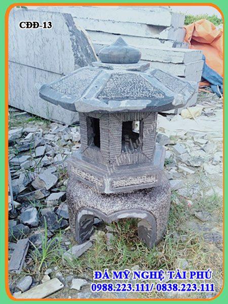 Đèn đá trang trí sân vườn 13 (bóng lục giác), đèn đá đẹp, địa chỉ làm đèn đá đẹp tại Ninh Bình