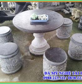 Làm Bộ bàn ghế đá tròn từ đá tự nhiên 14