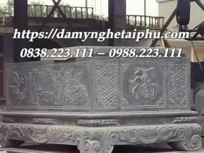 Mẫu Bể đá cảnh trạm khắc Cuốn thư và Chữ Phúc đẳng cấp