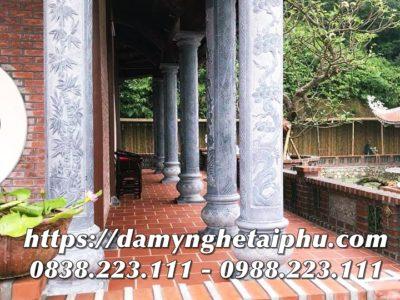 Mẫu Cột đá Tứ Quý – Tùng, Trúc, Cúc, Mai cao cấp cho Nhà thờ họ
