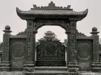 Mẫu Cổng đá Xanh rêu Tài Phú cao cấp cho Khu lăng mộ đá