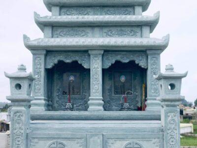 Mẫu Mộ đá đôi đẹp Tài Phú – Đá xanh tự nhiên nguyên khối